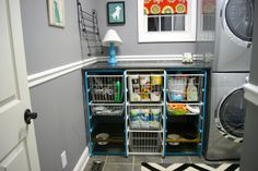 Perfect laundry room organization! Two pet / dog feeding stations, plus tons of room for supplies! And somewhere to fold! Gotta love Ikea hacks!