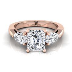 Radiant Cut Center With Pear Shape Sides 3 Stone Engagement Ring In Rose Gold Ct. Radiant Cut Engagement Rings, Three Stone Engagement Rings, Rose Gold Engagement Ring, Pear Shaped, Jewels, Shapes, Diamond, Rose Gold Square Engagement Ring, 3 Stone Engagement Rings