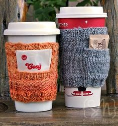 Expect more from your coffee cozy with this cute knit coffee sleeve pattern. The Cabled Pocket Cozy has a nifty little pocket to hold a tea bag, coffee creamer, sweetener, or any other little bauble you can imagine. Crochet Coffee Cozy, Coffee Cup Cozy, Coffee Creamer, Tea Cozy, Coffee Maker, Knitted Coffee Sleeve, Coffee Cup Warmer, Coffee Cup Sleeves, Coffee Scrub