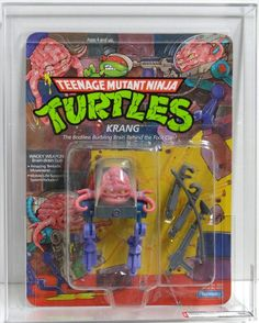 The action figure for Krang, the evil extradimensional brain who opposed the Teenage Mutant Ninja Turtles, in his small life-support robot