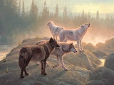Wolves Painting by Greg Alexander