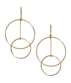 Gold-colored. Large metal earrings. Length 3 1/2 in.