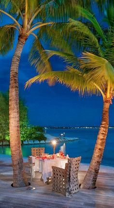 Dinner in the garden at St. Regis Bora Bora Resort in French Polynesia