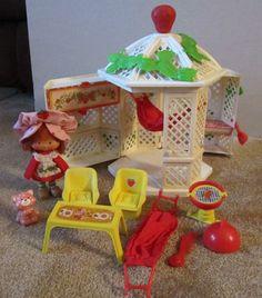 Vintage Strawberry Shortcake Garden House Gazebo with doll 1979. Loved this...still have it!