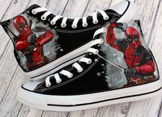 """62af37c2e8515e Ange Lord on Instagram  """"I love a bit of Deadpool All done with these new  customs .  angelusdirect  angelusshoepolish  arkon mounts  customizerdepot  ..."""