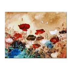 [Framed] Blooming Poppies Flowers Canvas Art Picture Prints Wall Home Decor New #WiecoArt #Abstract