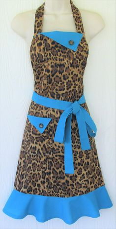 Leopard Print Apron Animal Print Apron Leopard and Teal