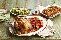 Roasted chicken with apple-bacon stuffing