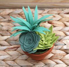 Felt Succulent Arrangement in a Clay Pot Faux by CuriousBloom