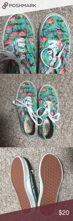 Cool Kids flamingo Vans Love the flamingo pattern! So cool! Worn but outgrown very quickly! In really good shape. Kids size 1.5 Vans Shoes Sneakers