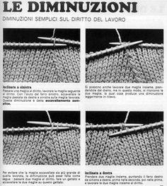 Le diminuzioni Knitting Websites, Knitting Videos, Arm Knitting, Knitting Stitches, Knitting Projects, Knitting Patterns, Free Crochet, Knit Crochet, Needle Felting Tutorials