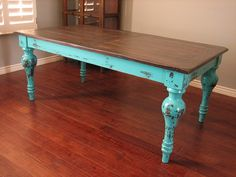 painted turquoise table