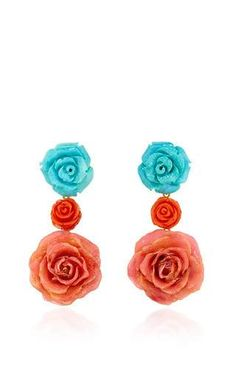 18k yellow gold earstuds with turquoise flowers, coral flowers and real stabilized roses by BAHINA