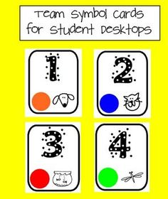 Need a variety of ways to organize your students?  Team symbol cards for students desktops will help! $