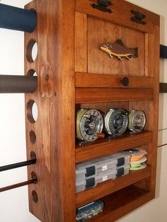 make fly fishing furniture such as fly tying tables and benches, fly rod racks and cabinets, fly storage cabinets, material storage cabinets, and more! Fishing Rod Rack, Fishing Rod Storage, Fly Fishing Gear, Gone Fishing, Fishing Tips, Fishing Lures, Trout Fishing, Fishing Knots, Fishing Stuff
