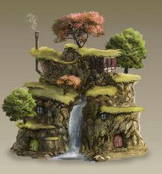 Amazing Huge Waterfall Terrarium with Raku Fired Miniature Miniature Fairy Gardens, Miniature Houses, Bonsai, Fairy Fountain, Fairy Village, Gnome House, Fantasy House, Hobby House, Fairy Garden Houses