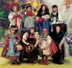 A Fine Pretending Tea: 331 Set of Eight German Cloth Caricature Dolls by Ilse Ludecke
