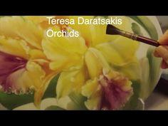 Pintura en porcelana: Tutorial de Pintura en porcelana: Orquídeas sobre placa oval. - YouTube