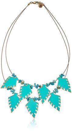 "Sam Edelman Turquoise-Color Arrowhead Collar Necklace, 18"""