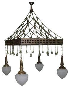 Art Nouveau Jugendstil Bruno Paul Ceiling Light SOLD: Au Fil de l'Eau Antiques