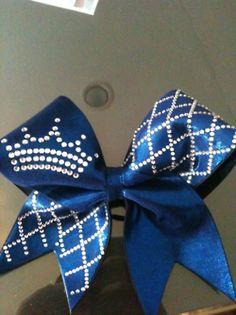 blue crown cheer bow... LOVE the grid design