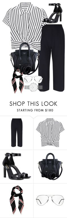"""""""outfit for an interview"""" by ferned ❤ liked on Polyvore featuring Armani Collezioni, T By Alexander Wang, Yves Saint Laurent, CÉLINE, Givenchy, Ray-Ban and Daniel Wellington"""