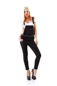 097cb03561c Fashion4Young 5334 Damen Latzhose Röhrenhose Pants Hose mit Trägern Schwarz  Damenhose Slim-Fit (schwarz