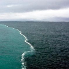 2 oceans meet but don't mix.FACT but phenomenon.Pic shows 2 different ocean water bodies meeting in middle of Alaskan Gulf, where a foam is formed at the merging junction.This happens when glaciers of fresh water start melting and flow to join the ocean water which is more salty.Due to the difference in the salinity and densities of these 2 meeting ocean water bodies, a surface tension is developed between them that acts like a thin wall and does not allow them to mix. Eventually they will mix.