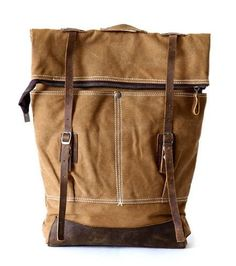 Top Quality Womens Rugged Stylish Brown Canvas Backpack