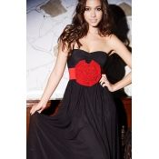 $8.49 Sexy Off The Shoulder Sleeveless Waist Black Gauze Ankle Length Dresses