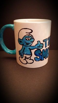 Hand Painted Smurf Cup, Back View By Kimberley Holland