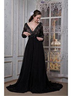 Fiesta formal Vestido Corte A Barrer / cepillo tren - Escote en V Gasa - USD $ 139.99