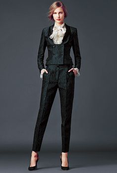 Black suit with lace top. Dolce & Gabbana Woman's Apparel - Collection Fall Winter 2014 2015
