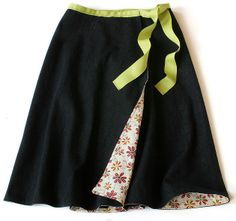 FREE printable pattern and tutorial to sew a super cute reversible wrap skirt!  DIY by Craftybitch.com for Makezine.