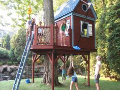 Bluebird Treehouse  Bluebird Treehouse sparkles in the middle of this backyard island. A large Clubhouse with secret sliding door to the balcony sits atop the 1/2-octagon deck with hand-woven rope net railings. Underneath the deck are plenty of fun activities: monkey bars, parallel rings, trapeze bar, disc swing and giant knotted climbing rope. Inside, a built-in loft for reading, napping or hanging out with friends. And on top of the deck, take-off on a 50' long Zip Line Ride!