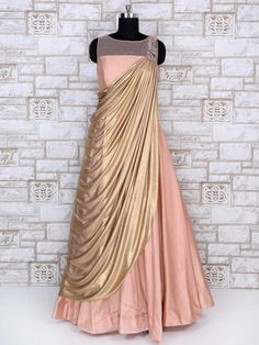 Party Wear Designer Peach Color Gown, party wear gown, wedding gown, designer, womens fashion, fashion for womens, indian fashion, indian wear, style, designer collection for women, party gown, traditional gown, western gown, cocktail party gown, eveing party gown, ethnic gown