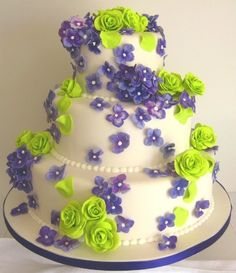 Lime Green, Purple and White