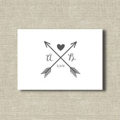 Personalized Arrow Folded Notecards  Wedding Date   by fiftyfive18