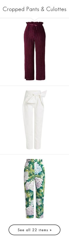"""Cropped Pants & Culottes"" by cndystrpd ❤ liked on Polyvore featuring pants, capris, trousers, bottoms, jeans, aubergine, velvet wide leg trousers, cropped pants, topshop trousers and wide leg pants"