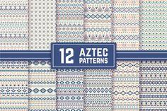 12 Aztec Seamless Patterns. Vector by vodoleyka on Creative Market