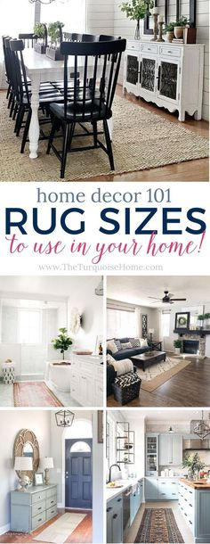 Adding an area rug to a room helps to create a cozy atmosphere to your room. Use these tips to help you choose and buy the right rug sizes for any room. Decorating Your Home, Diy Home Decor, Interior Decorating, Interior Design, Decorating Ideas, Decor Ideas, Farmhouse Dining Room Rug, Farmhouse Decor, Dining Rooms