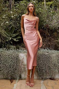 Slip Bridesmaids Dresses, Blush Pink Dresses, Prom Dresses, Cowl Neck Dress, Cinderella Dresses, Satin Midi Dress, Formal Gowns, Formal Prom, Bridal Robes