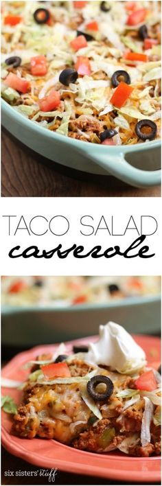 Taco Salad Casserole recipe from Six Sisters' Stuff | This quick and easy taco salad casserole is a great meal to throw together for dinner when you're in a pinch for time. I had all the ingredients in my pantry and fridge, so all I had to add was the ground meat!