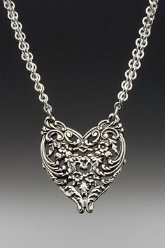 English Lace Heart Necklace - Silver Spoon Jewelry®