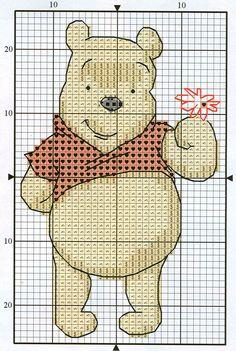 Winnie the Pooh with flower Child And Child, Disney Pins, Winnie The Pooh, Cross Stitch Patterns, Teddy Bear, Cartoon, Crossstitch, Children, Stitching