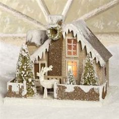 Bethany Lowe Woodland Ivory Cottage Christmas Mantle Village with Deer Christmas Village Houses, Cottage Christmas, Putz Houses, Christmas Fairy, Christmas Villages, Christmas Deer, Rustic Christmas, Christmas Home, Christmas Crafts