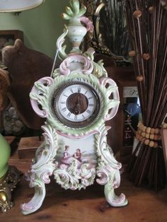 Antique  Victorian Porcelain scenic painted Meissen style  Mantel Clock marked #Victorian #marked