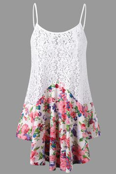 $14.75 Floral Lace Trim Tank Top