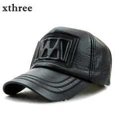 2bf0a73e587 xthree New fall winter fashion high quality faux leather baseball cap  snapback hat for men women
