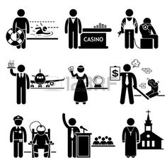 Special Jobs Occupations Careers - Swimming Lifeguard, Casino Dealer, Tattoo Artist, Air Steward, Fortune Teller, Debt Collector, Politician, Prison Warden, Priest - Stick Figure Pictogram photo
